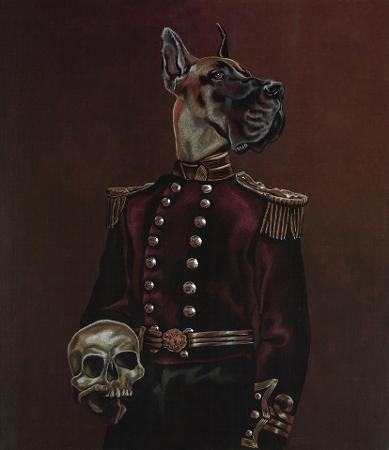 Buster the Dane, mixed media on canvas by Julian Quaye