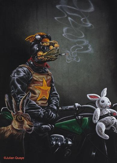 The Wild One - Mr Snuggles Rides Again, mixed media on canvas by Julian Quaye