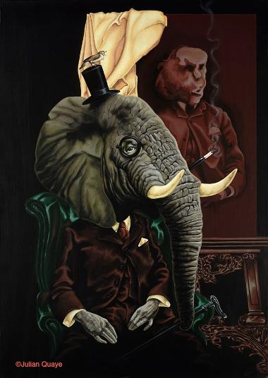 The Elephant in the Room, mixed media on canvas by Julian Quaye